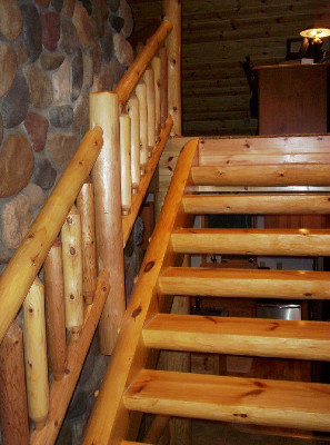 Half Log Mortise and Tenon Stairway